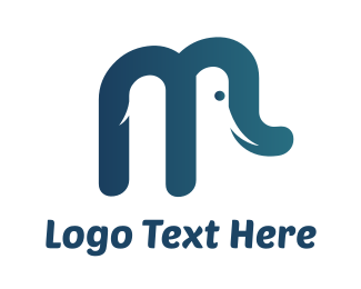 Pachyderm - Elephant M logo design