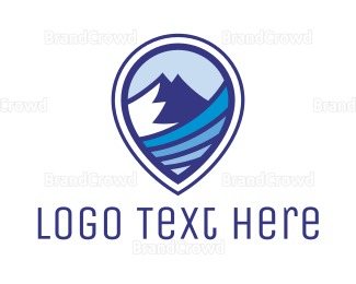 Travel Agent - Blue Mountain Pin logo design