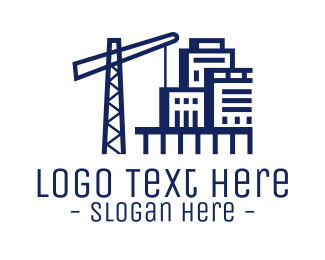 Viaduct - Building Construction Crane logo design