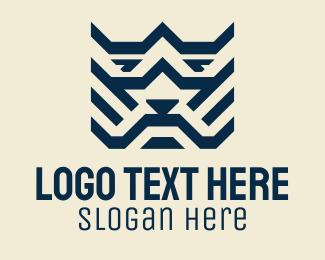 Tiger - Blue Geometric Tiger logo design