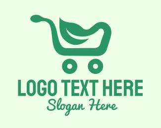 Mart - Green Eco Shopping Cart logo design