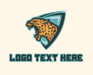 Esports - Roaring Leopard Shield Mascot logo design