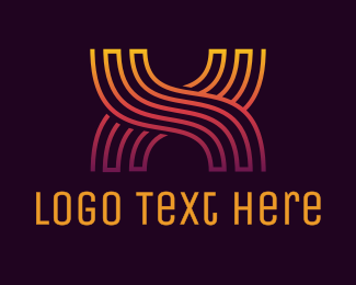 Wavy - Gradient X Pattern logo design