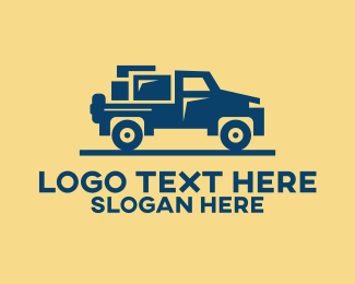 Jeep - Moving Pickup Truck  logo design