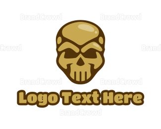 """Gold Cyborg Skull"" by town"