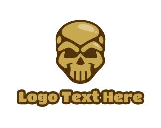 Gold - Gold Cyborg Skull logo design