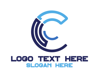 Hacking - Blue Tech C logo design