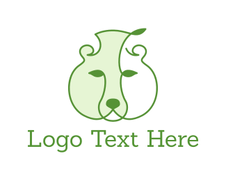 Twig - Green Leaf Bear logo design