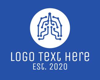 Medical - Blue Lung Circuits logo design