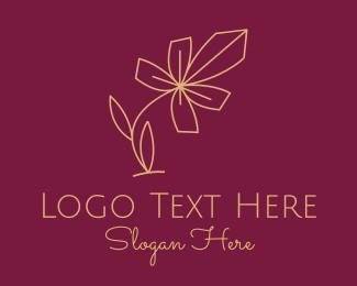 Wild Flower - Gold Minimalist Flower  logo design