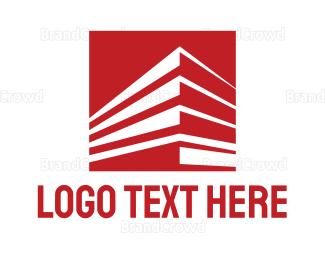 Business Center - Red Business Building  logo design
