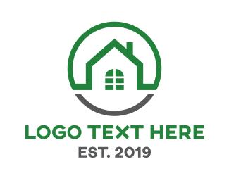 Mansion - Green Grey Circle House logo design