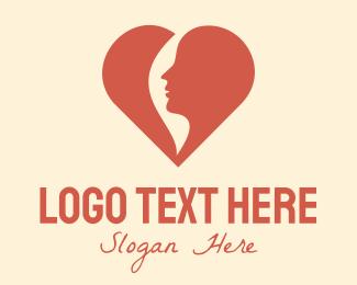 Pregnancy - Red Heart Woman logo design