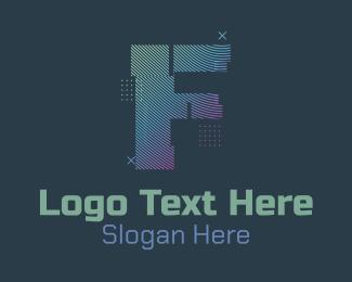 F - Modern Glitch Letter F logo design