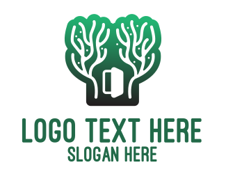 Forest - Green Gradient Forest Stroke logo design