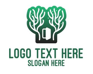 Evergreen - Green Gradient Forest Stroke logo design