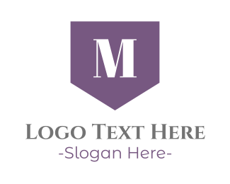 Purple Shield - Elegant M Flag logo design