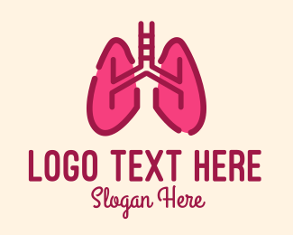 Lung Health - Pink Respiratory Lungs logo design