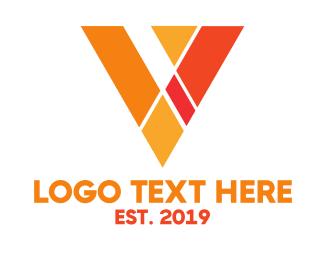Polygon - Orange Polygon V logo design