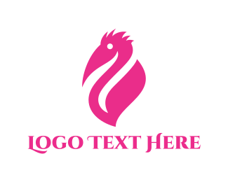 White And Pink - Pink Pelican logo design