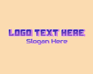 Techno - Purple Gradient Gamer Wordmark logo design