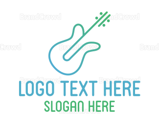 Instrument - Minimalist Guitar Outline logo design