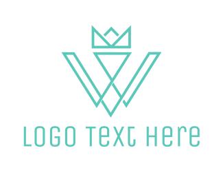 Prince - Crown W Outline logo design