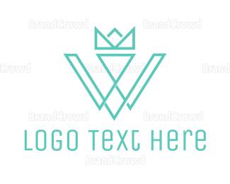 Typography - Crown W Outline logo design