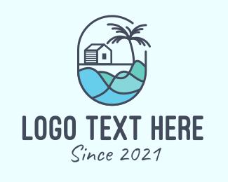 Motel - Beach house Emblem logo design