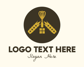 Kitchen Tools - Gold Wheat Whisk logo design