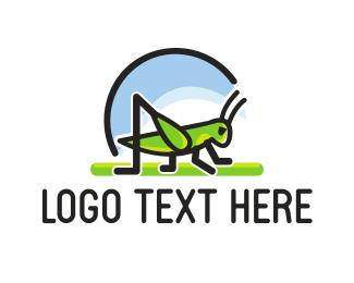 Cricket - Green Grasshopper logo design