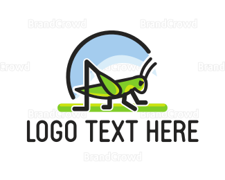 Cricket - Green Grasshopper logo design