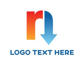 Right - Letter R & Arrow logo design