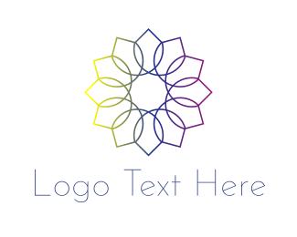 Colorbook - Rainbow Flower logo design