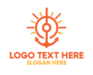 Yellow Orange - Sunset Sailing Anchor logo design