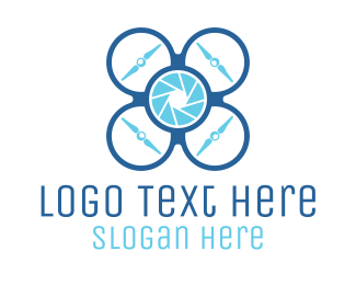 Seaman - Blue Quadcopter Drone logo design