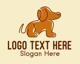 Dog Groomer - Brown Beagle Dog  logo design