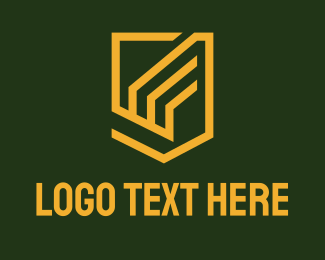 Automotive - Yellow Geometric Wing Shield logo design