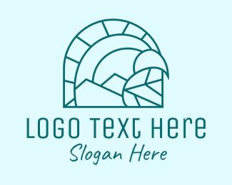 Archaeologist - Blue Monoline Cave logo design