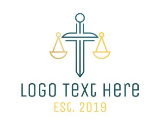 Justice - Minimalist Justice Sword Outline logo design