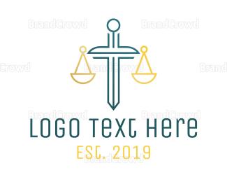 Equilibrium - Minimalist Justice Sword Outline logo design