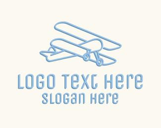 Pilot Training - Blue Monoline Biplane logo design