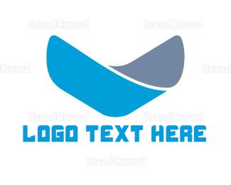 Vertical - Blue Letter V logo design