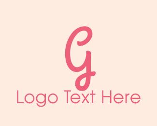 Curly - Pink Feminine Letter G logo design