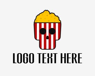 Fear - Horror Movie Popcorn Skull logo design