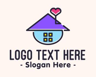 School - Cute House logo design