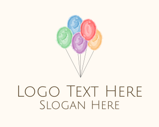 Events - Party Balloons Watercolor logo design