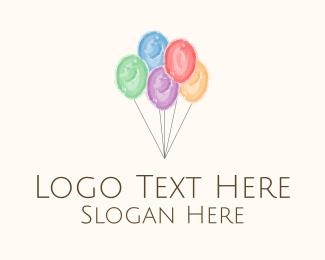 Events - Party Balloons Watercolor logo design