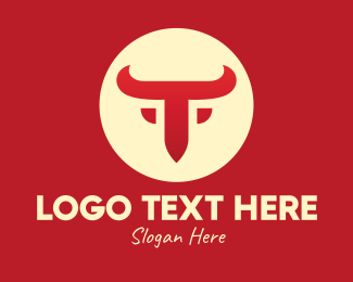 Bullfight - Red Bull Letter T logo design