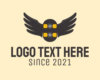 Skate - Wing Skateboard Emblem logo design